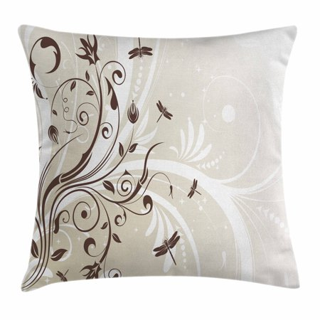 Dragonfly Throw Pillow Cushion Cover, Seasonal Flourishing Flower Petals Swirled Branches Artistic Beauty Design, Decorative Square Accent Pillow Case, 16 X 16 Inches, Pale Green Brown, by Ambesonne