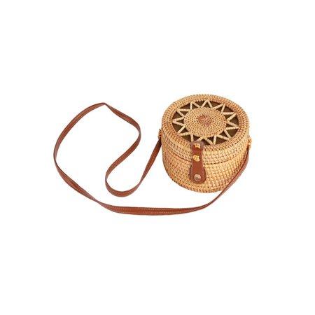 SUPERHOMUSE Women Straw Storage Bag Summer Bamboo Handbag Shoulder Tote Bag Hand Woven Bag Round Rattan Bag Bamboo Vintage Handbag