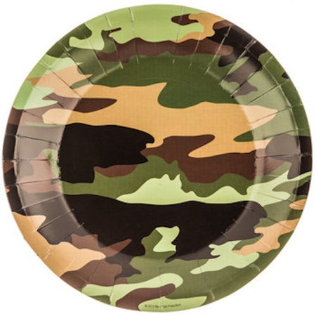 Camouflage Plates Small Table Decoration Party Supplies Special Events 10 Count