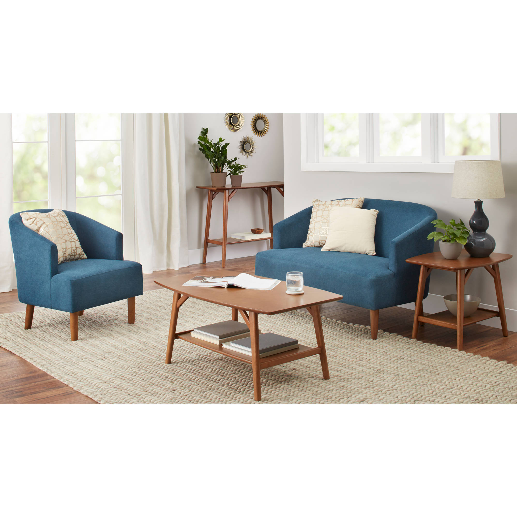 Better Homes and Gardens Reed Mid Century Modern Loveseat