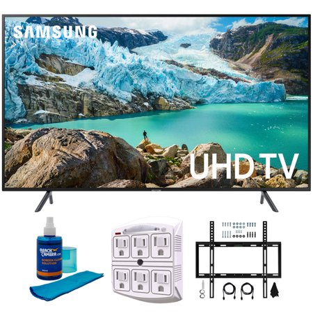 "Samsung 65"" RU7100 LED Smart 4K UHD TV 2019 Model (UN65RU7100FXZA) with Flat Wall Mount Kit Ultimate Bundle for 45-90 inch TVs, Screen Cleaner for LED TVs & SurgePro 6-Outlet Surge Adapter"