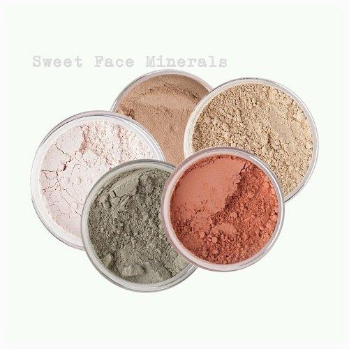 Sweet Face Minerals 5 Pc Kit Mineral Makeup Set Bare Skin Sheer Powder Concealer Corrector Blush Foundation Cover (Fair Shade 2)