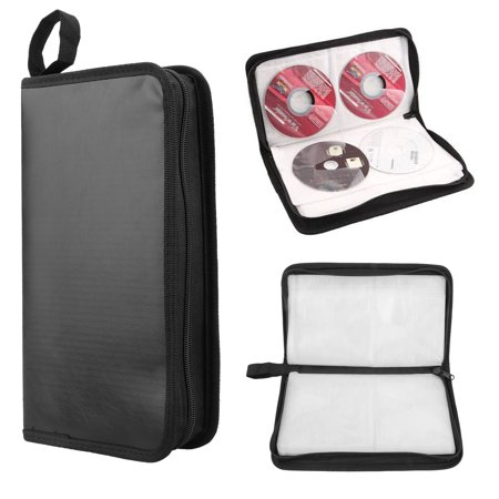 SUPERHOMUSE 80 CD DVD Disc Portable Wallet, DJ Carry Case Bag Faux Leather Hard Box Storage Organizer Holder - 11.02 x 5.9 x 1.56inch - covid 19 (27mm 8 Disc Black Dvd coronavirus)