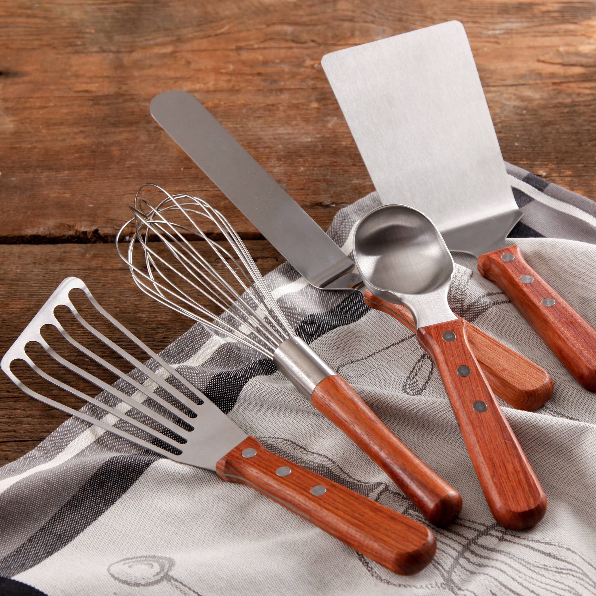 The Pioneer Woman Cowboy Rustic Baker's Essentials 5-Piece Kitchen Tool Set with Short Wood Rosewood Handle