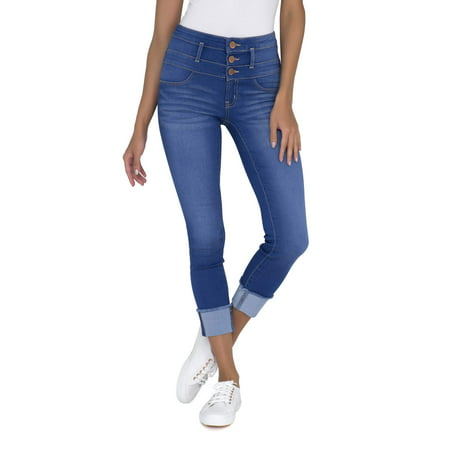 Juniors' Triple Stack Ankle Wide Cuff Jeans