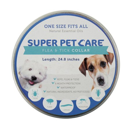Flea and Tick Repellent Collar for all sizes of Dogs and Cats, Natural Essential Oils, 6 Month Protection,One Size Fits All, 25' inches long By Super Pet Care (24.8, blue )