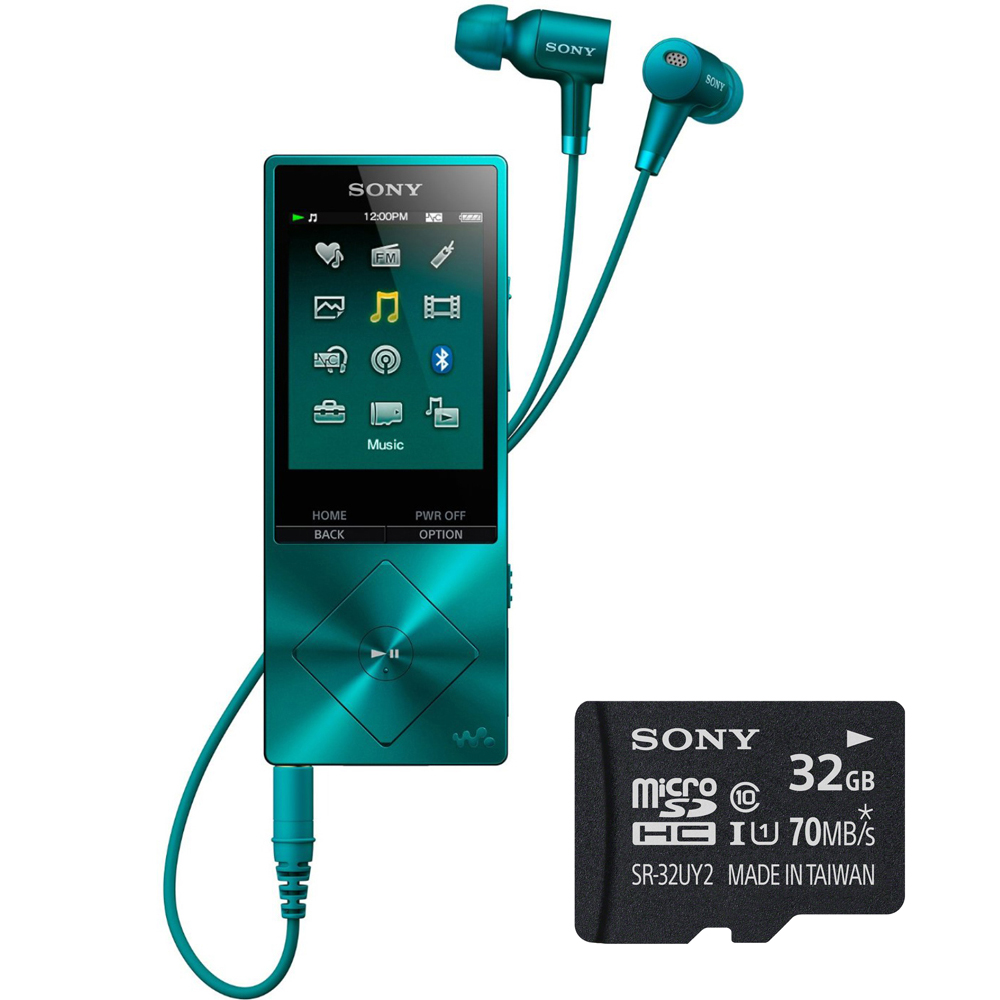 Sony 32GB Hi-Res Walkman Digital Music Player with Noise Cancelation - Blue (NWA26HNLM) with Sony 32GB micro SDHC Class 10 UHS-1 Memory Card