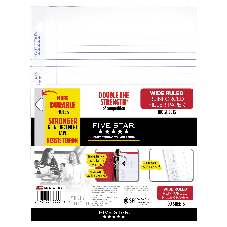 Five Star Reinforced Filler Paper, Wide Ruled, 100 Sheets/Pack (15049)