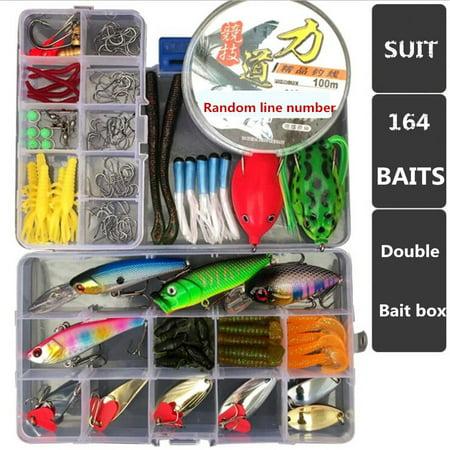 164Pcs Fishing Lure Kit Soft Hard Metal Blade Baits Hooks Fishing Line Set With 2 Tackle Box thumbnail