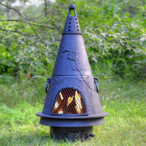 Outdoor Chiminea Fireplace Garden in Charcoal Finish (Without Gas) by The Blue Rooster