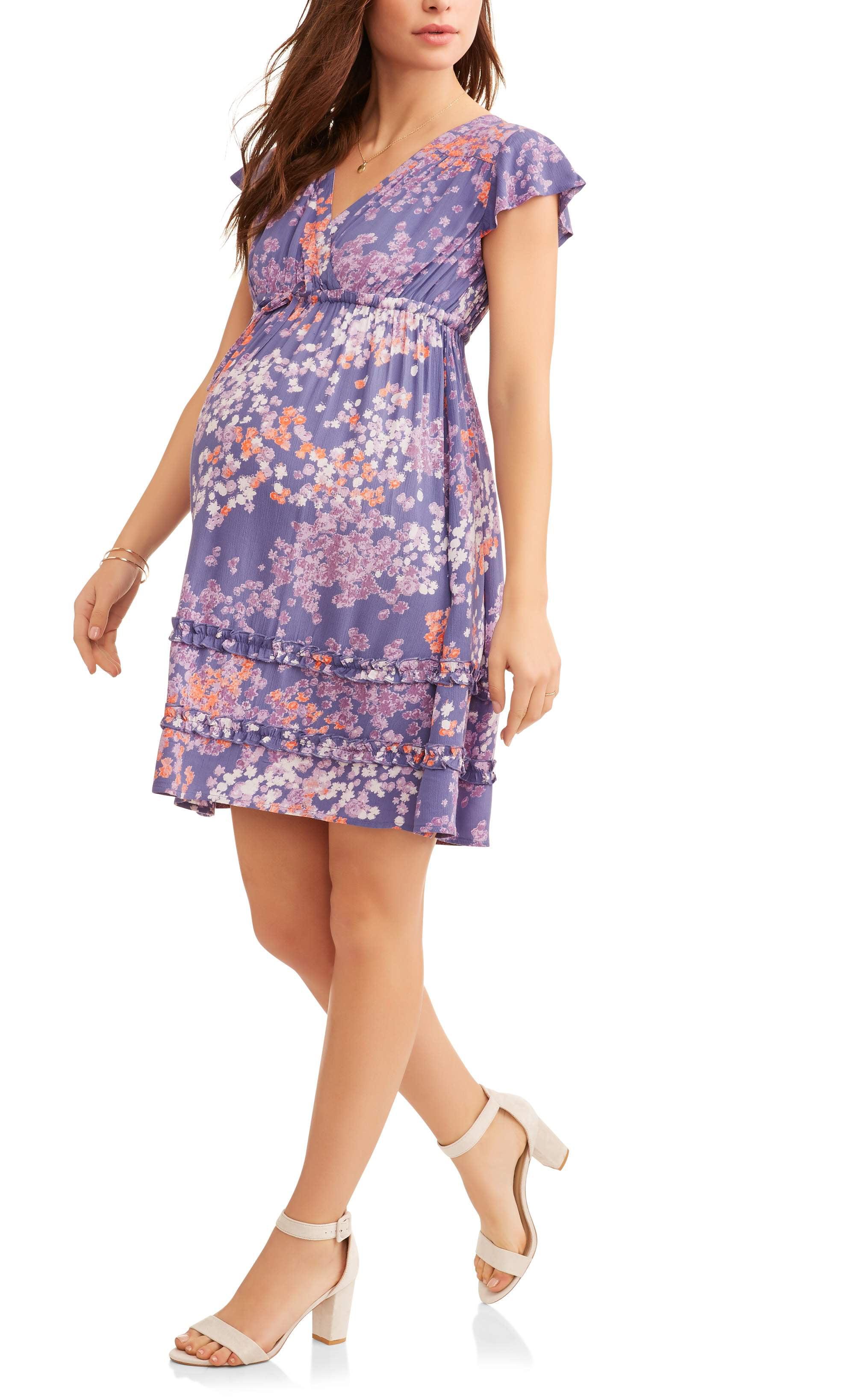 Maternity Flutter Sleeve Babydoll Dress by Generic