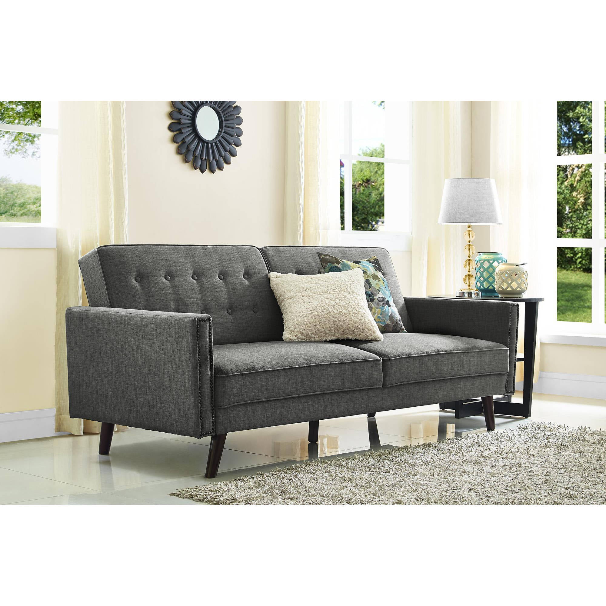 Better Homes And Gardens Rowan Linen Futon, Grey   Walmart.com