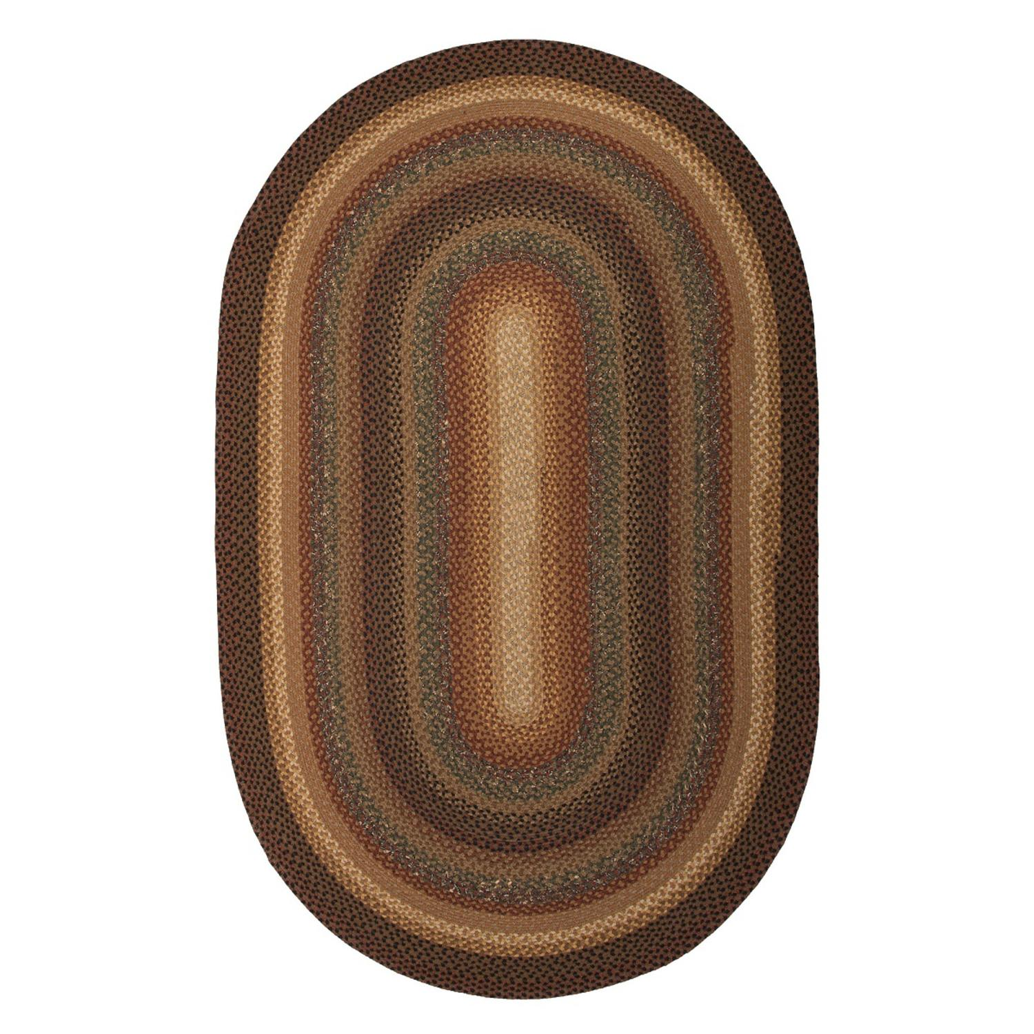 2.5' x 6' Copper, Sepia Brown, Caramel and Charcoal Gray Braided Peppercorn Oval Area Throw Rug