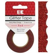 Best Creation Designer Glitter Tape 15mmX5m-Red Fancy Wave