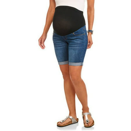 6306cced8086f Planet Motherhood - Maternity, Over Belly Seamless Banded, Roll Cuff, Denim  Bermuda Shorts--Available In Plus Size - Walmart.com