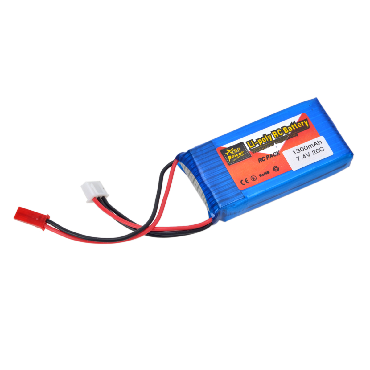 7.4V 1300mAh Lithium Polymer RC Battery for Model Car, Aeroplane
