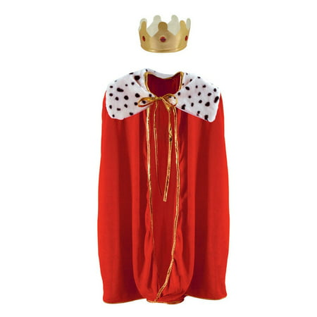 Royal Red Childrens King/Queen Robe with Gold Crown Mardi Gras or Halloween Costume Accessory