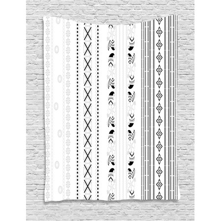 Henna Tapestry, Vertical Stripes with Geometric Floral Old Fashioned Motifs Rangoli Inspired Design, Wall Hanging for Bedroom Living Room Dorm Decor, 60W X 80L Inches, Black White, by (Bella Floral Tapestry)