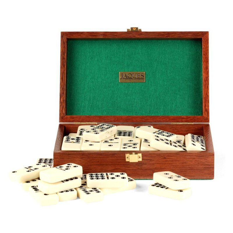 Jaques Double Nine Dominoes in Mahogany Case