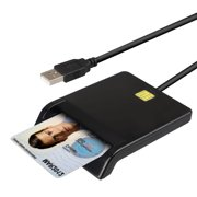 TSV Smart Card Reader DOD Military Common Access USB Smart Chip Government/National ID Bank Card Reader Compatible with Windows, Linux for Digital Network ATM Transfer Tax Credit Card Bill Payment