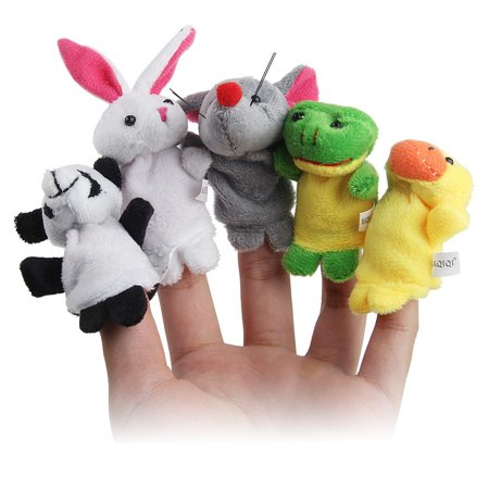 10pcs Velvet Animal Style Finger Puppets Set - Halloween Finger Puppets Craft