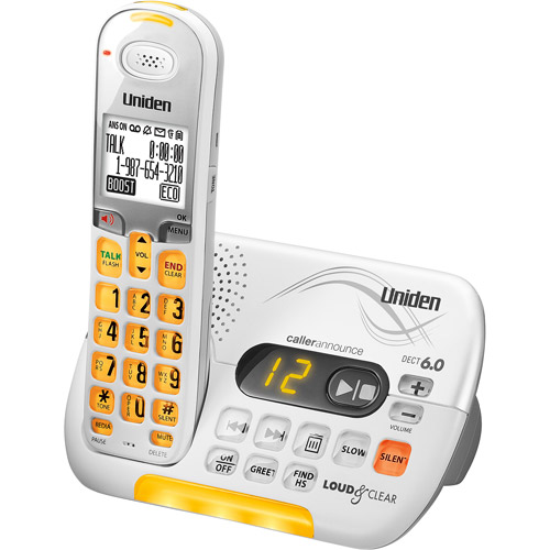 UNIDEN D3097 Loud & Clear(TM) Amplified Cordless Phone System with Answering System & Talking Caller ID