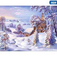 Fancyleo Christmas Town 5D Diamond Painting Snow Scene Embroidery Cross Stitch Kit #wa3