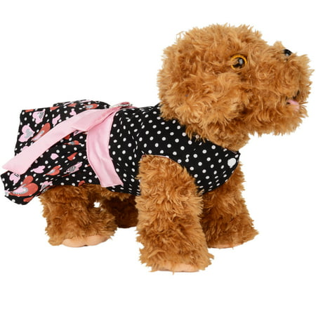 CUECUEPET Casual Indoor / Outdoor Button Up Dress for Female / Girl Dogs (Black with PolkaDot Hearts) [Multiple Sizes Available]