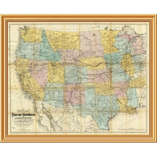 East Urban Home 'National Map of The Territory of The United States, 1868' Framed Graphic Art Print on Canvas