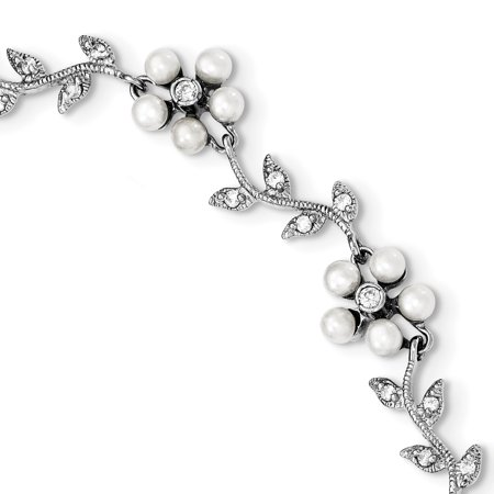 925 Sterling Silver Rhodium Freshwater Cultured Pearl and Cubic Zirconia Floral Bracelet Cultured Freshwater Pearl Floral Design