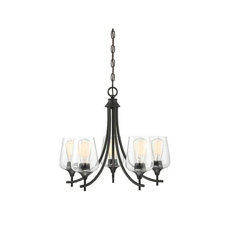 Chandeliers 5 Light With English Bronze Finish Metal/Glass E Bulb 23 inch 300 Watts ()