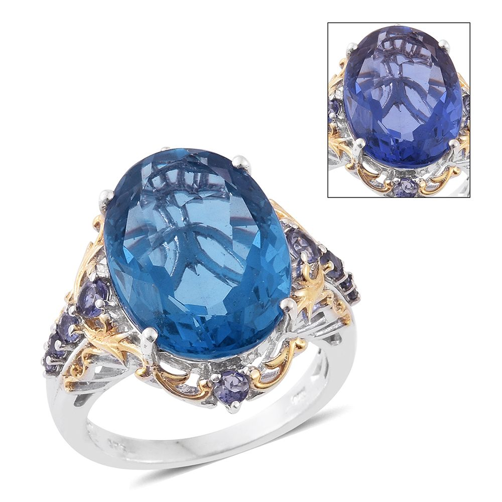 Natural Fluorite 14K YG Platinum Plated 925 Sterling Silver Ring 15.82 cttw. by Shop LC