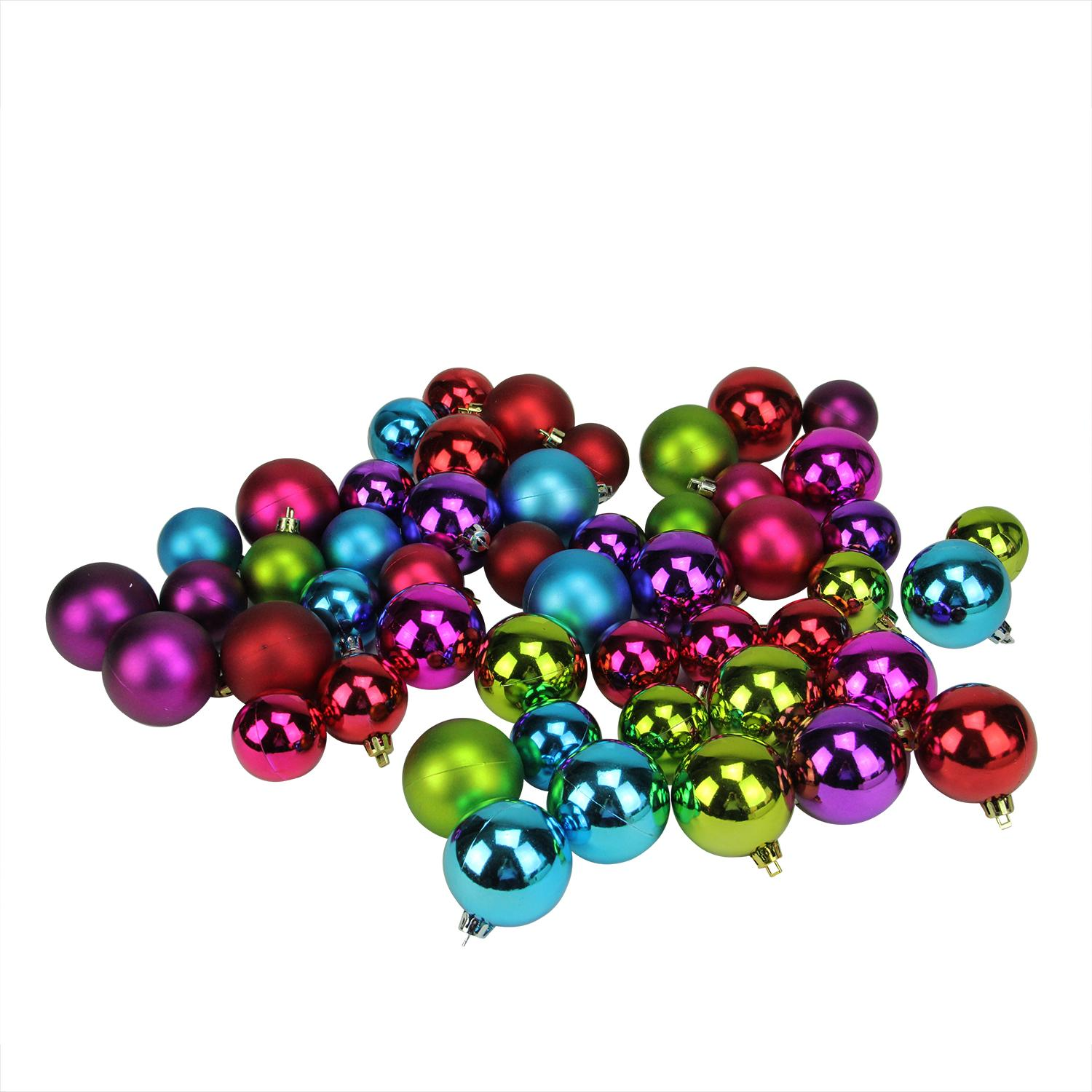 "50ct Vibrantly Colored Shatterproof Shiny and Matte Christmas Ball Ornaments 1.5""-2"""