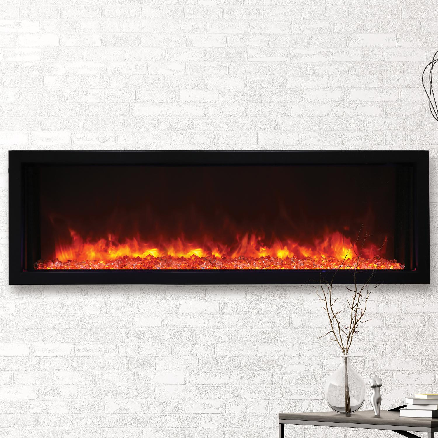 50 Extra Slim Electric Built-In only Electric Fireplace with blacksteel surround