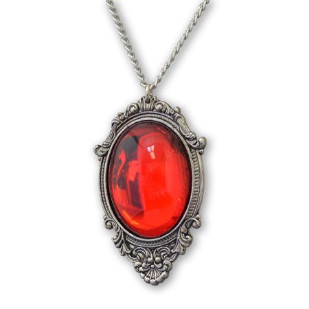 Blood Red Cabochon in Silver Finish Pewter Frame Pendant Necklace Silver Frame Pendant