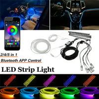 RGB Multicolor LED Car Interior Strip Light Upgrade 5IN1 Atmosphere Lamp Car Underbody Underglow Light Strip Optical Fiber h APP Control Remote Control G4 12 LED Chassis la