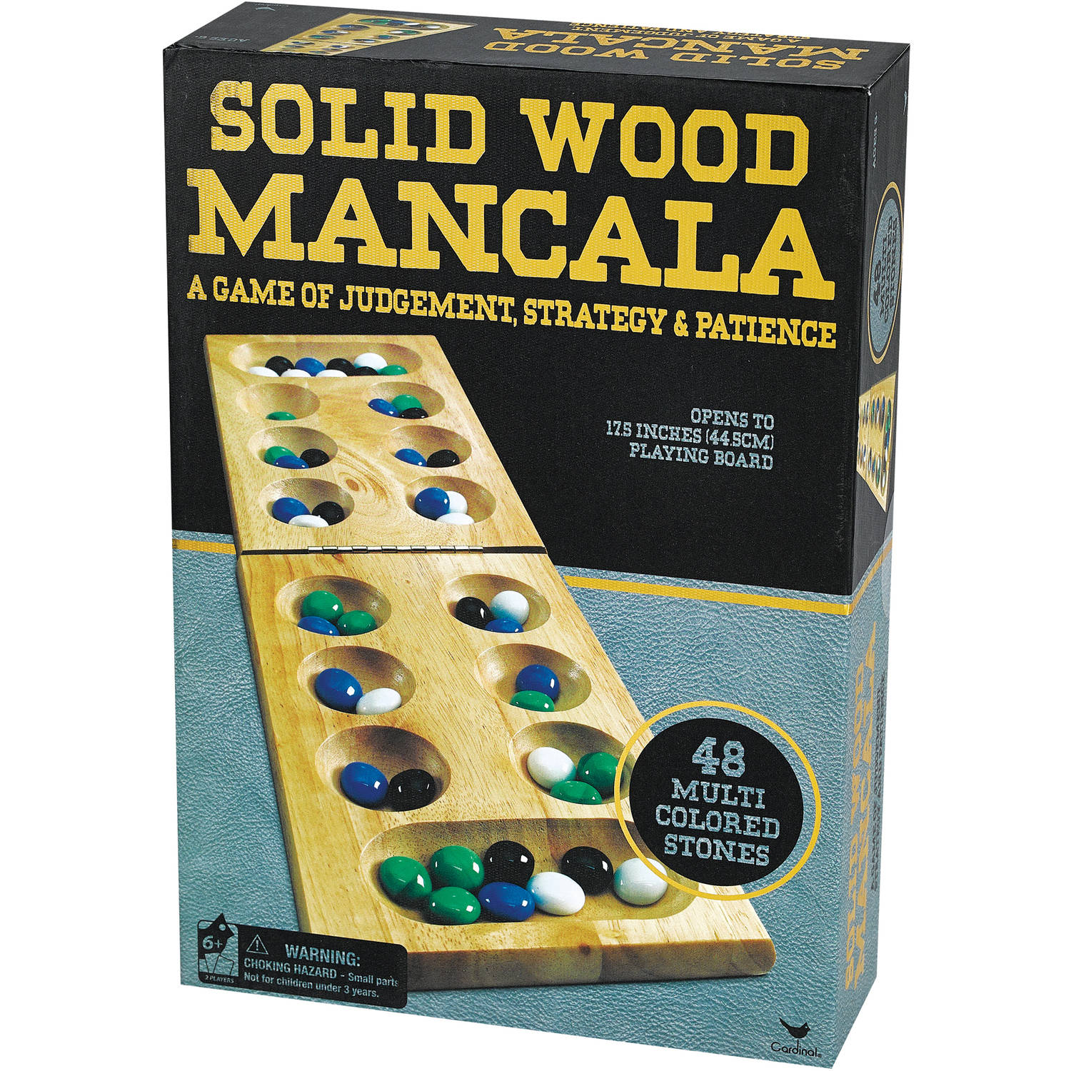 Cardinal Solid Wood Mancala in Gold Foil Box