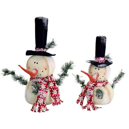 Set of 2 Vibrantly Colored Frosted Jolly Snowmen Christmas Table Top Figurine ()