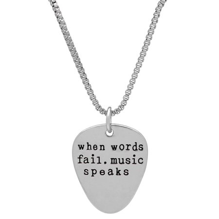Art Attack Silvertone When Words Fail Music Speaks Guitar Pick Lover Pendant Necklace