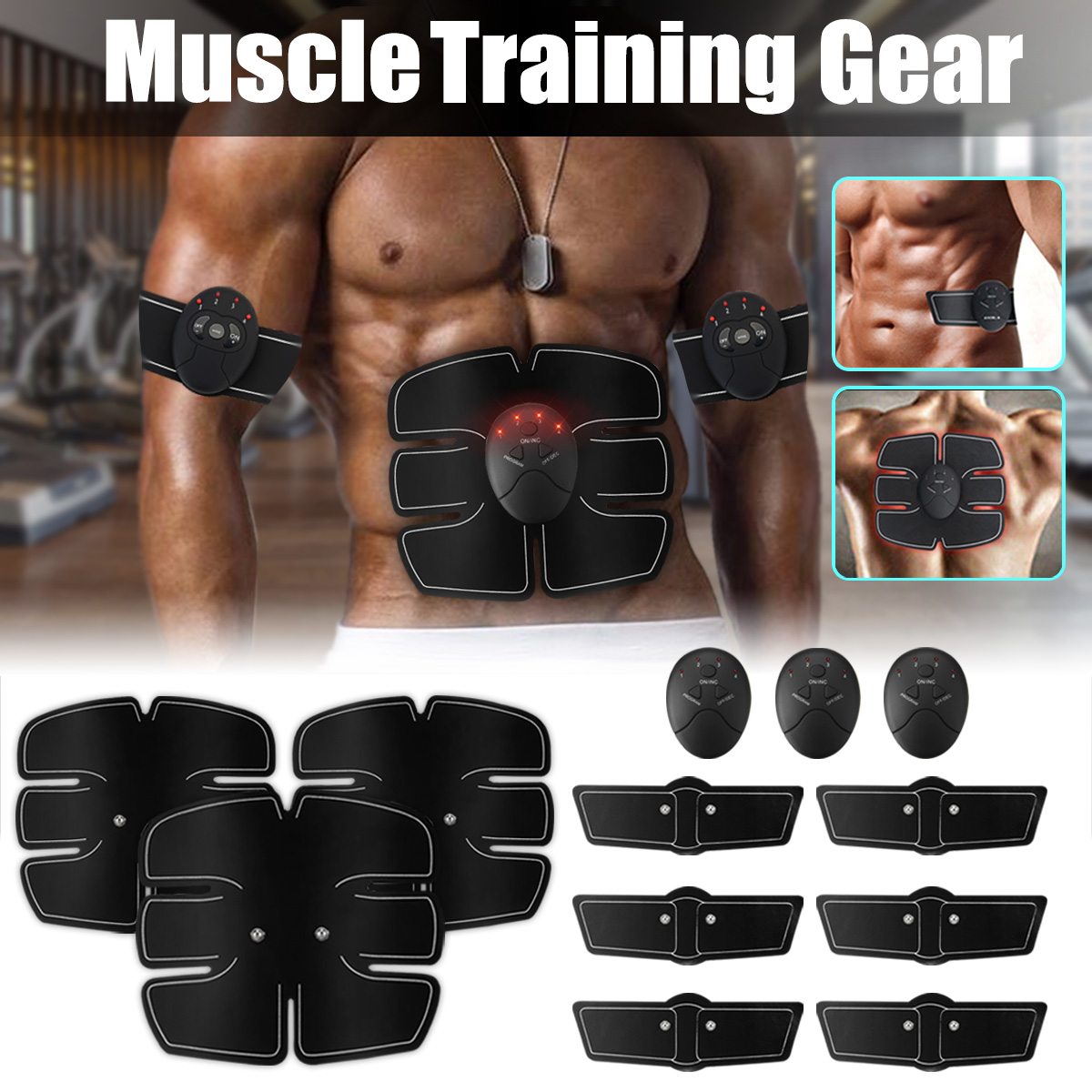 30X Gel Pads Sheet ABS Stimulator Trainer Abdominal Toning Belt Muscle Toner TE