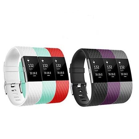 POY Fitbit Charge 2 Bands 6 PACK Adjustable Replacement Wristband Band for Fitbit Charge 2 New Style (Small)