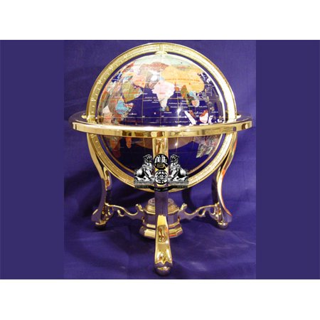 Unique Art 13-Inches Tall Table Top Blue Lapis Ocean Gemstone World Globe with Tripod Gold Leg Stand