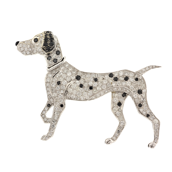 2.52 CT VS WHITE & BLACK DIAMOND DALMATIAN DOG BROOCH by