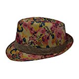 Womens Vintage Floral Faux Fedora Cap Bowler Hat (Pink Floral) - White And Black Fedora