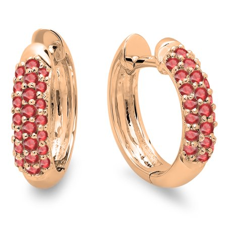 0.30 Carat (ctw) 14K Rose Gold Round Ruby Ladies Pave Set Huggies Hoop Earrings 1/3 CT
