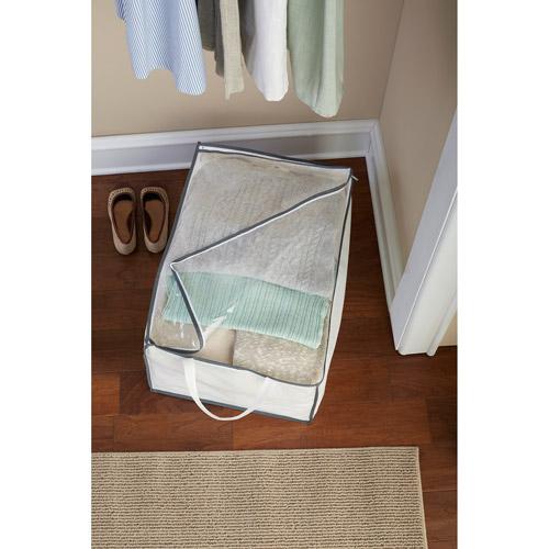 Mainstays Jumbo Storage Bags, White with Grey Trim, 5-Pack