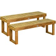 Gymax Set of 2 Acacia Wood Bench Dining Bench Patio Garden w/ Slatted Seat Teak