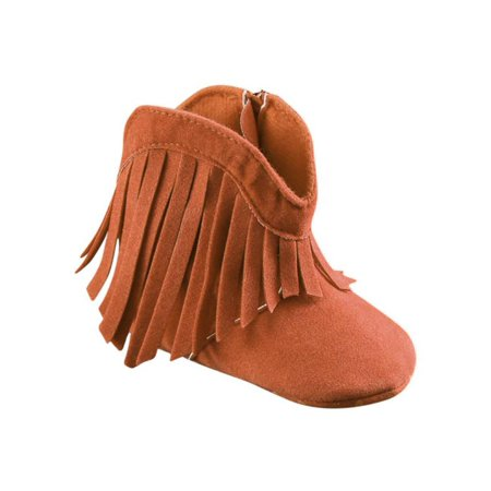 Infant Baby Girl Soft Bottom Anti-Slip Prewalker Crib Shoes Tassel Ankle Boots