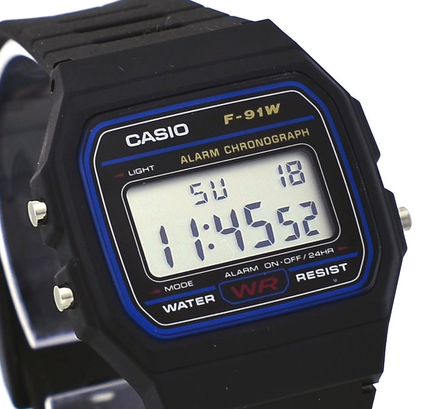 Casio F91W-1 Men's Classic Black Resin Band Alarm Chroograph LCD Digital Watch