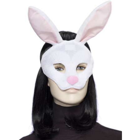 Adult Deluxe White Pink Plush Rabbit Animal Half Eye Mask - Rabbit Half Mask